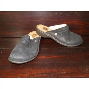 New Womens UGG Theresa Black Leather Slip On Clogs